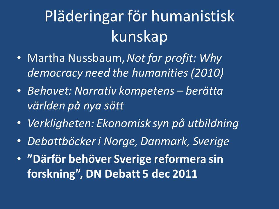Pläderingar för humanistisk kunskap Martha Nussbaum, Not for profit: Why democracy need the humanities (2010) Behovet: Narrativ kompetens – berätta vä