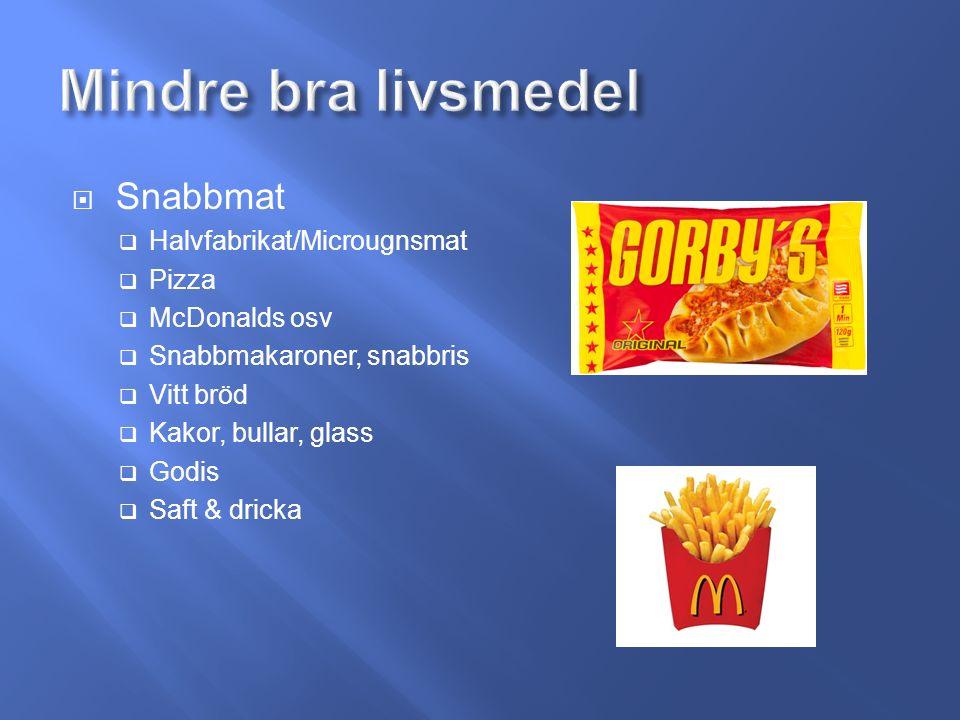  Snabbmat  Halvfabrikat/Microugnsmat  Pizza  McDonalds osv  Snabbmakaroner, snabbris  Vitt bröd  Kakor, bullar, glass  Godis  Saft & dricka