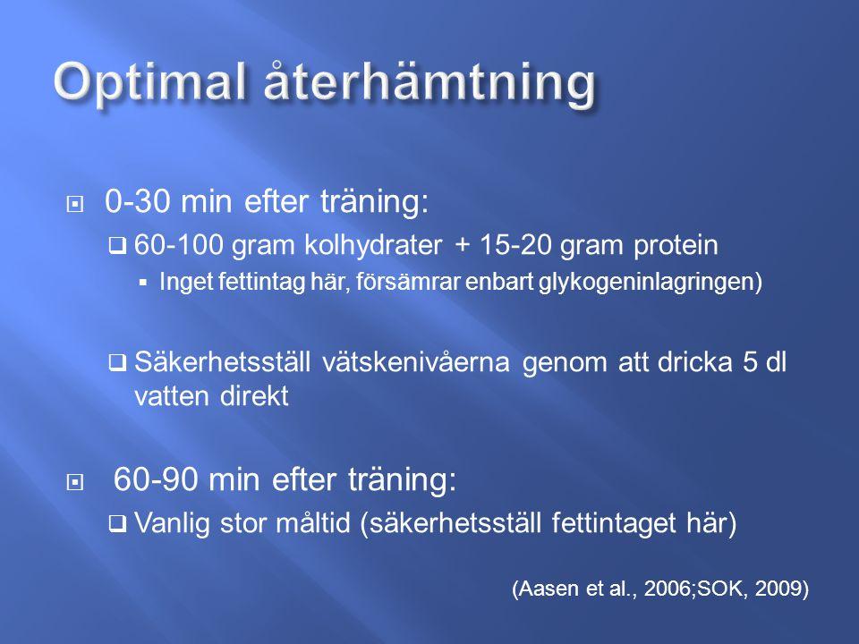  0-30 min efter träning:  60-100 gram kolhydrater + 15-20 gram protein  Inget fettintag här, försämrar enbart glykogeninlagringen)  Säkerhetsställ vätskenivåerna genom att dricka 5 dl vatten direkt  60-90 min efter träning:  Vanlig stor måltid (säkerhetsställ fettintaget här) (Aasen et al., 2006;SOK, 2009)
