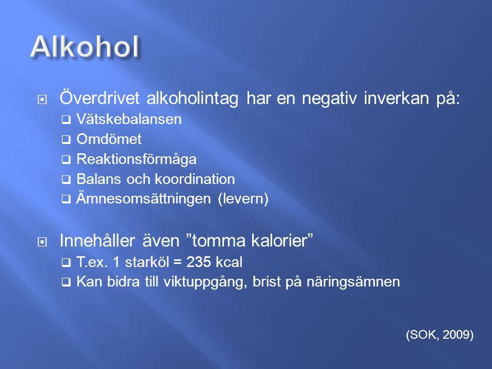  Överdrivet alkoholintag har en negativ inverkan på:  Vätskebalansen  Omdömet  Reaktionsförmåga  Balans och koordination  Ämnesomsättningen (levern)  Innehåller även tomma kalorier  T.ex.