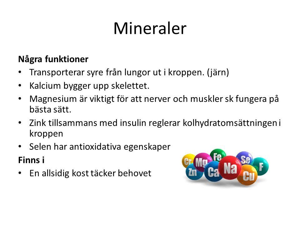 Mineraler Några funktioner Transporterar syre från lungor ut i kroppen.