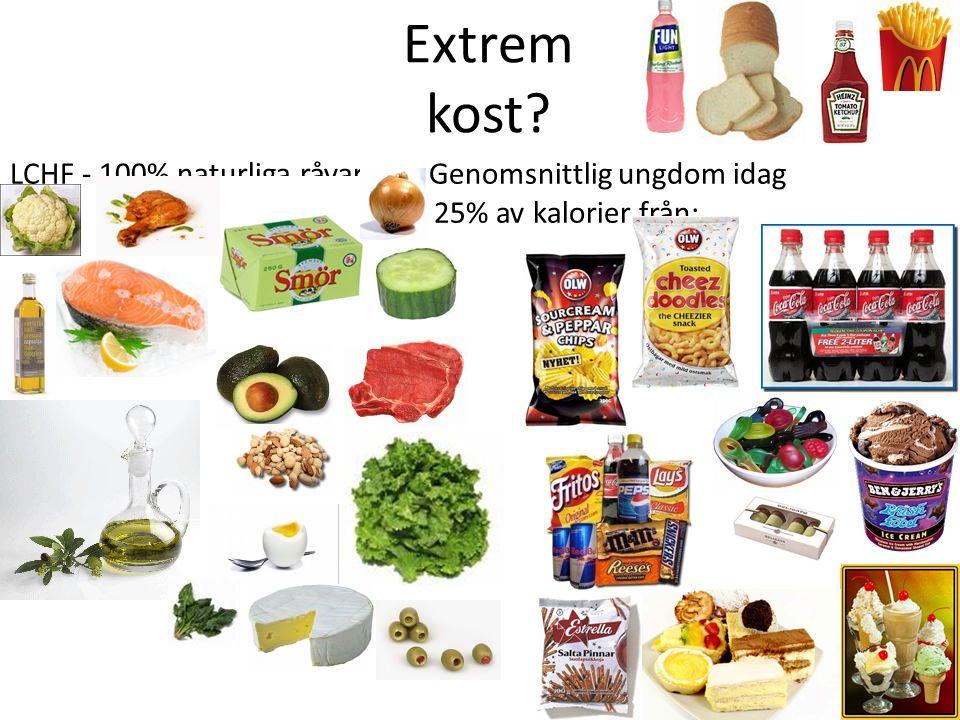 LCHF - 100% naturliga råvaror Genomsnittlig ungdom idag 25% av kalorier från: Extrem kost?