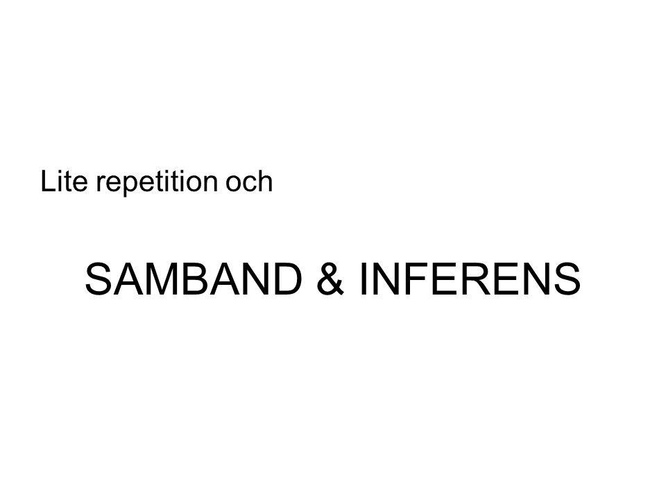 Lite repetition och SAMBAND & INFERENS