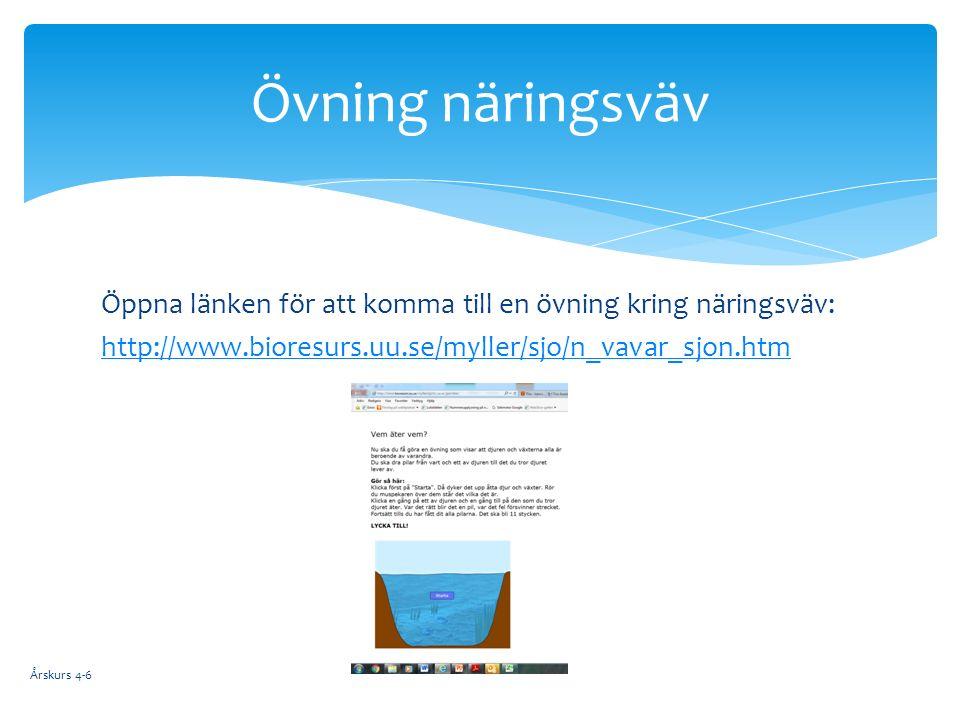 Öppna länken för att komma till en övning kring näringsväv: http://www.bioresurs.uu.se/myller/sjo/n_vavar_sjon.htm Årskurs 4-6 Övning näringsväv