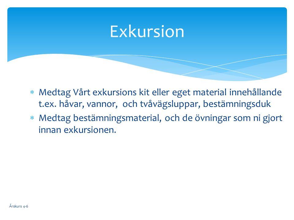  Medtag Vårt exkursions kit eller eget material innehållande t.ex.