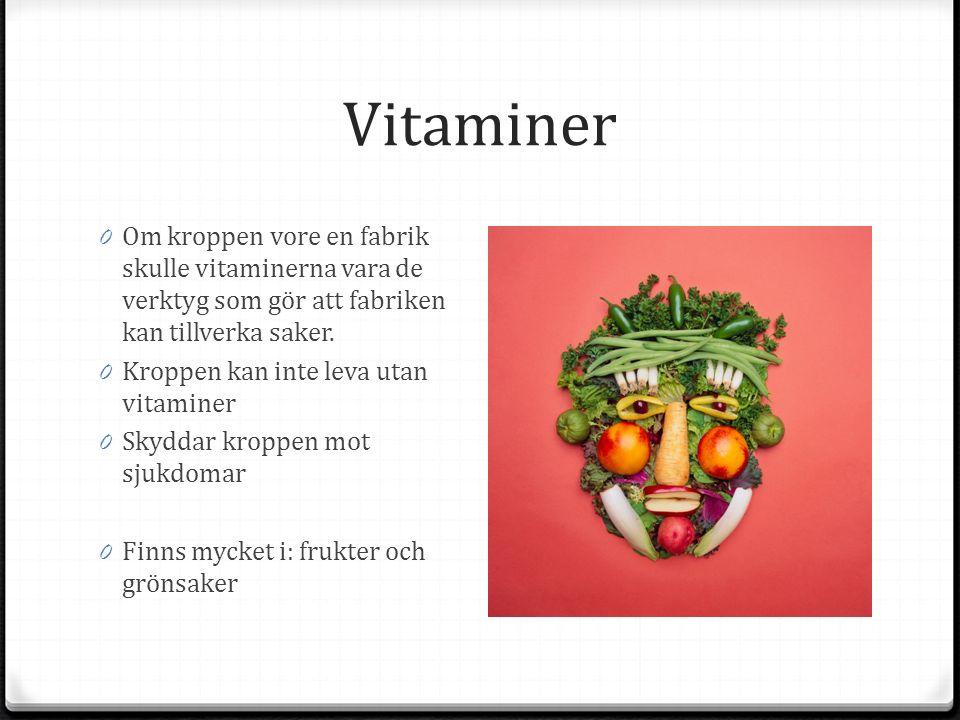 Vitaminer 0 Om kroppen vore en fabrik skulle vitaminerna vara de verktyg som gör att fabriken kan tillverka saker.