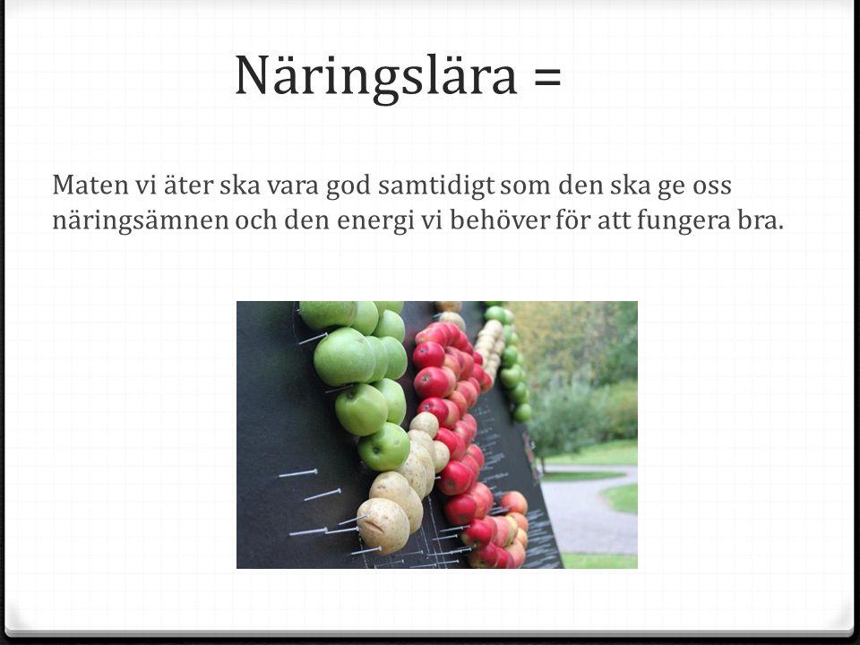 Näringslära = Maten vi äter ska vara god samtidigt som den ska ge oss näringsämnen och den energi vi behöver för att fungera bra.