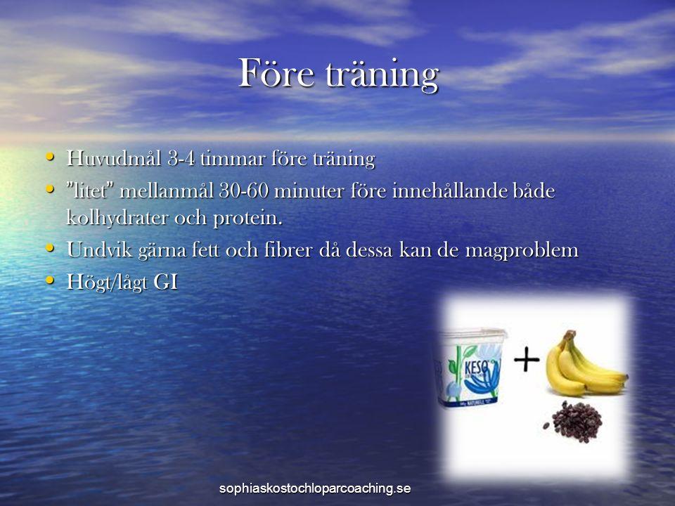 Före träning Huvudmål 3-4 timmar före träning Huvudmål 3-4 timmar före träning litet mellanmål 30-60 minuter före innehållande både kolhydrater och protein.