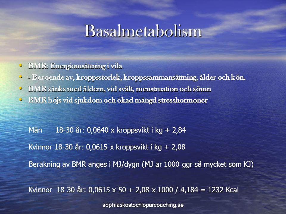 Basalmetabolism BMR: Energiomsättning i vila BMR: Energiomsättning i vila - Beroende av, kroppsstorlek, kroppssammansättning, ålder och kön.