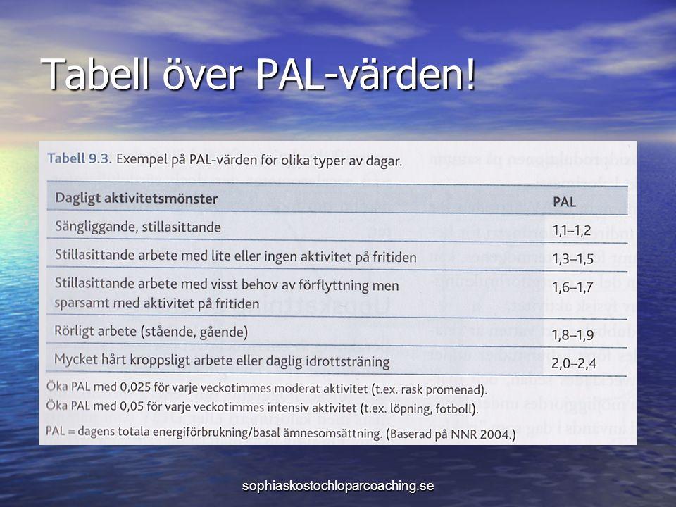 Tabell över PAL-värden! sophiaskostochloparcoaching.se