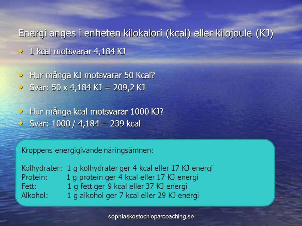 Energi anges i enheten kilokalori (kcal) eller kilojoule (KJ) 1 kcal motsvarar 4,184 KJ 1 kcal motsvarar 4,184 KJ Hur många KJ motsvarar 50 Kcal.