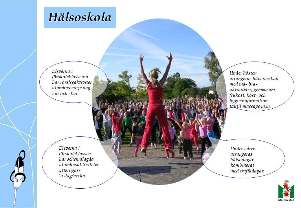 Eleverna i förskoleklasserna har rörelseaktiviter utomhus varje dag i ur och skur.