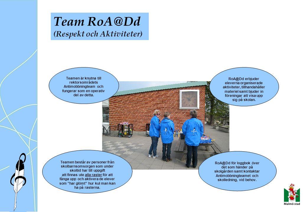 Team RoA@Dd (Respekt och Aktiviteter) Teamen är knutna till rektorsområdets Antimobbningteam och fungerar som en operativ del av detta.