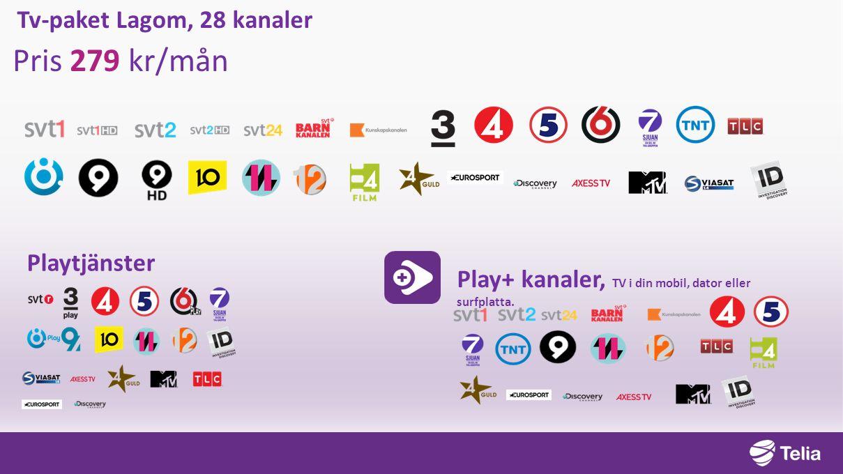 Tv-paket Lagom, 28 kanaler Pris 279 kr/mån Playtjänster Play+ kanaler, TV i din mobil, dator eller surfplatta.
