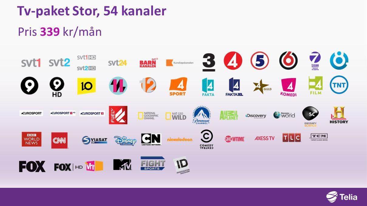Tv-paket Stor, 54 kanaler Pris 339 kr/mån