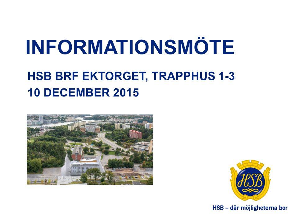 INFORMATIONSMÖTE HSB BRF EKTORGET, TRAPPHUS 1-3 10 DECEMBER 2015