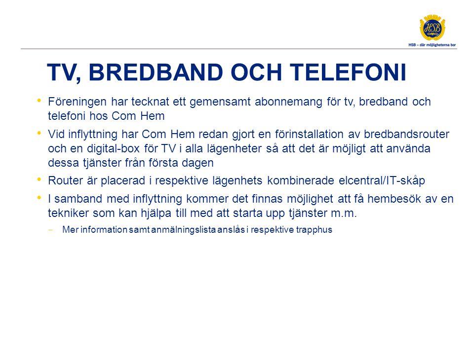 TV, BREDBAND OCH TELEFONI Föreningen har tecknat ett gemensamt abonnemang för tv, bredband och telefoni hos Com Hem Vid inflyttning har Com Hem redan