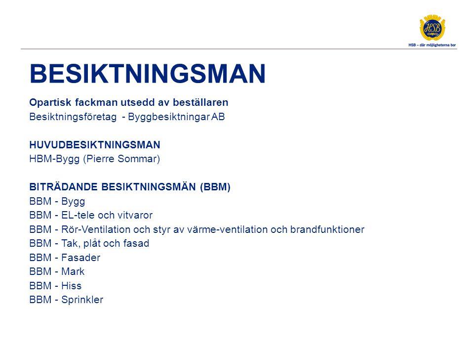 BESIKTNINGSMAN Opartisk fackman utsedd av beställaren Besiktningsföretag - Byggbesiktningar AB HUVUDBESIKTNINGSMAN HBM-Bygg (Pierre Sommar) BITRÄDANDE BESIKTNINGSMÄN (BBM) BBM - Bygg BBM - EL-tele och vitvaror BBM - Rör-Ventilation och styr av värme-ventilation och brandfunktioner BBM - Tak, plåt och fasad BBM - Fasader BBM - Mark BBM - Hiss BBM - Sprinkler