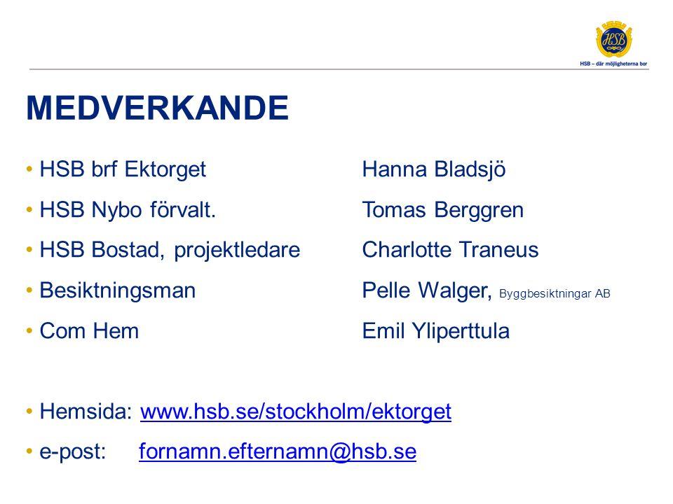 MEDVERKANDE HSB brf Ektorget Hanna Bladsjö HSB Nybo förvalt. Tomas Berggren HSB Bostad, projektledare Charlotte Traneus Besiktningsman Pelle Walger, B