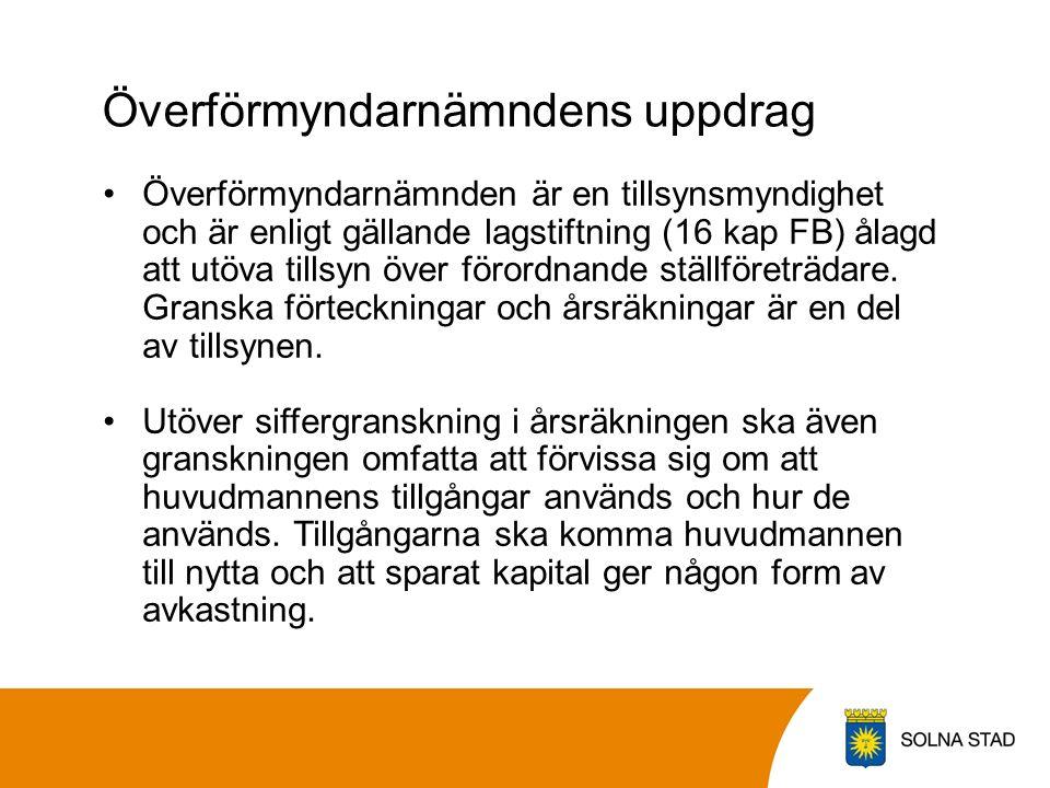 Överförmyndarnämndens uppdrag Överförmyndarnämnden är en tillsynsmyndighet och är enligt gällande lagstiftning (16 kap FB) ålagd att utöva tillsyn över förordnande ställföreträdare.