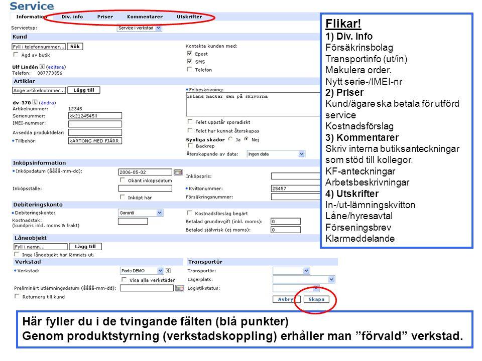 Kunden får ett inlämningskvitto och verkstaden får en serviceorder – klicka på skrivaren för att skriva ut pappren