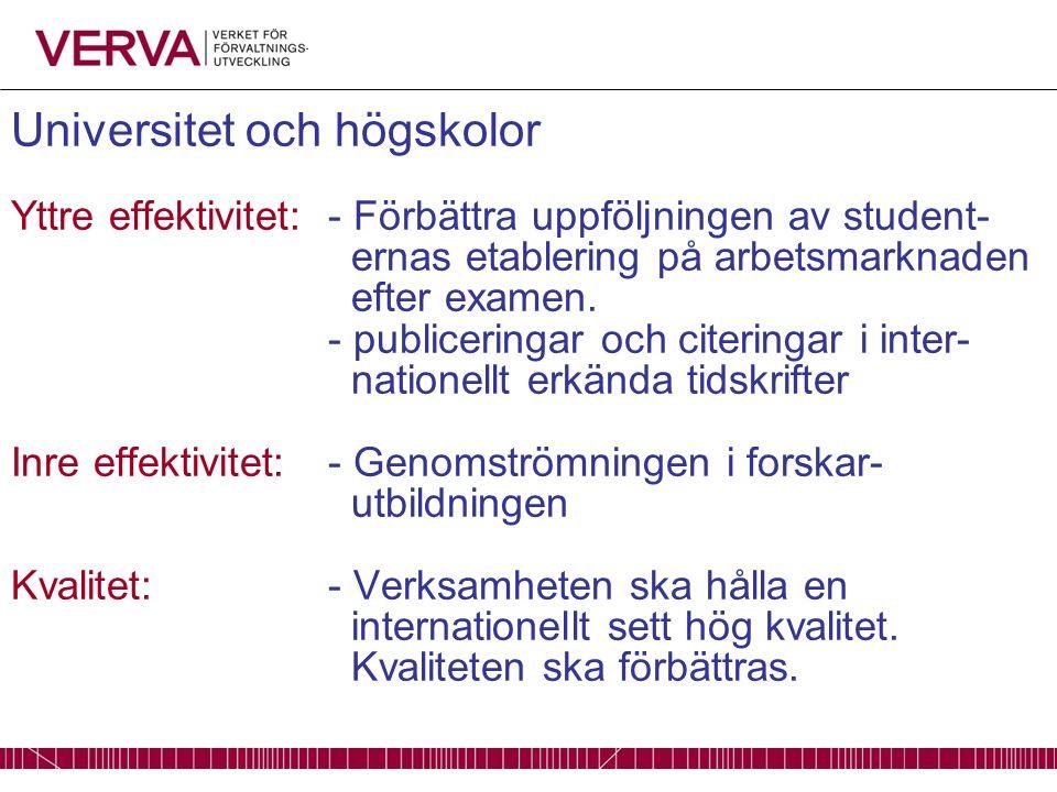 Universitet och högskolor Yttre effektivitet: - Förbättra uppföljningen av student- ernas etablering på arbetsmarknaden efter examen.