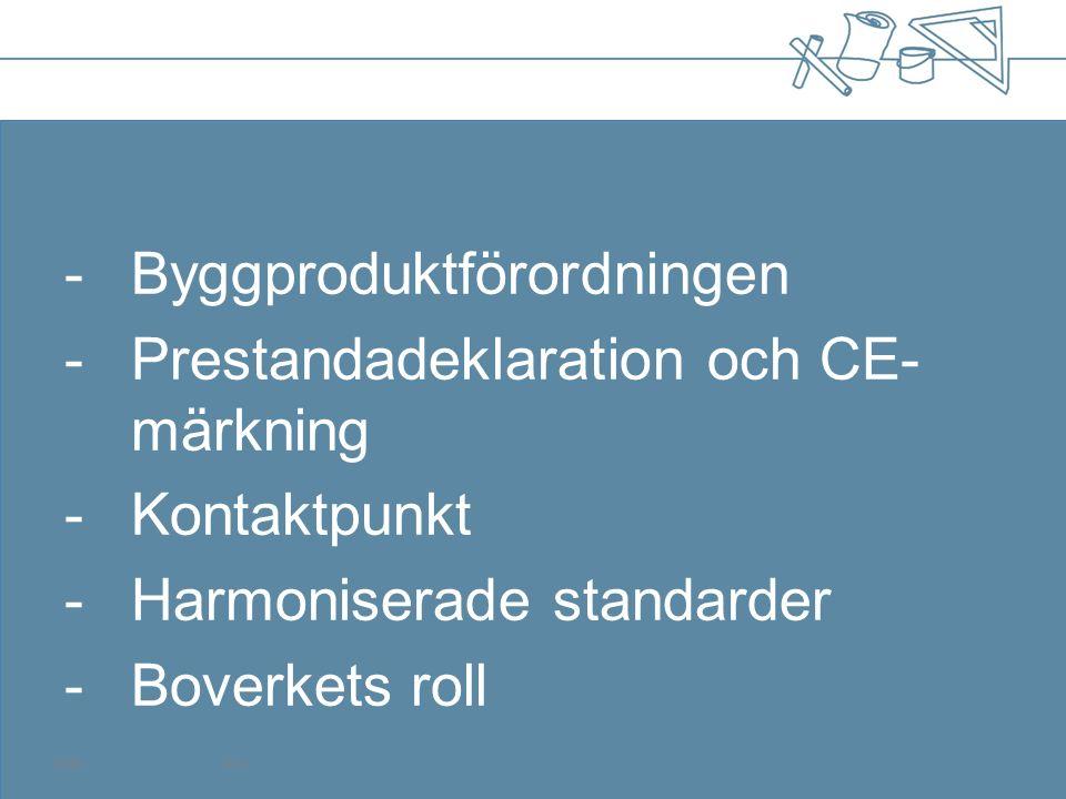 Sammanfattning CE-märk dina byggprodukter snarast om det går Om produkten redan är CE-märkt, ta gärna fram en prestandadeklaration redan nu Kontaktpunkten i respektive land svarar på frågor om vilka egenskaper som ska med i prestandadeklarationen Informera oss om problem med förordningen