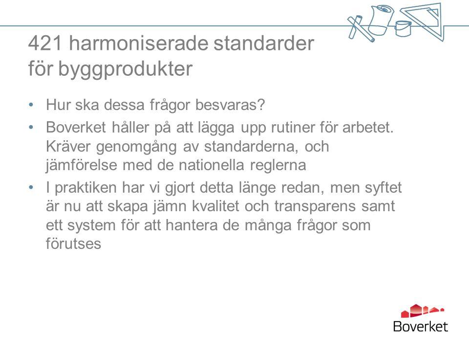 421 harmoniserade standarder för byggprodukter Hur ska dessa frågor besvaras.