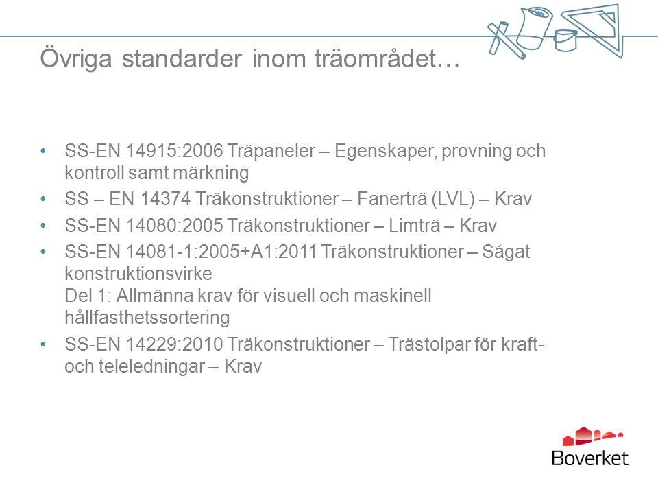 Övriga standarder inom träområdet… SS-EN 14915:2006 Träpaneler – Egenskaper, provning och kontroll samt märkning SS – EN 14374 Träkonstruktioner – Fanerträ (LVL) – Krav SS-EN 14080:2005 Träkonstruktioner – Limträ – Krav SS-EN 14081-1:2005+A1:2011 Träkonstruktioner – Sågat konstruktionsvirke Del 1: Allmänna krav för visuell och maskinell hållfasthetssortering SS-EN 14229:2010 Träkonstruktioner – Trästolpar för kraft- och teleledningar – Krav