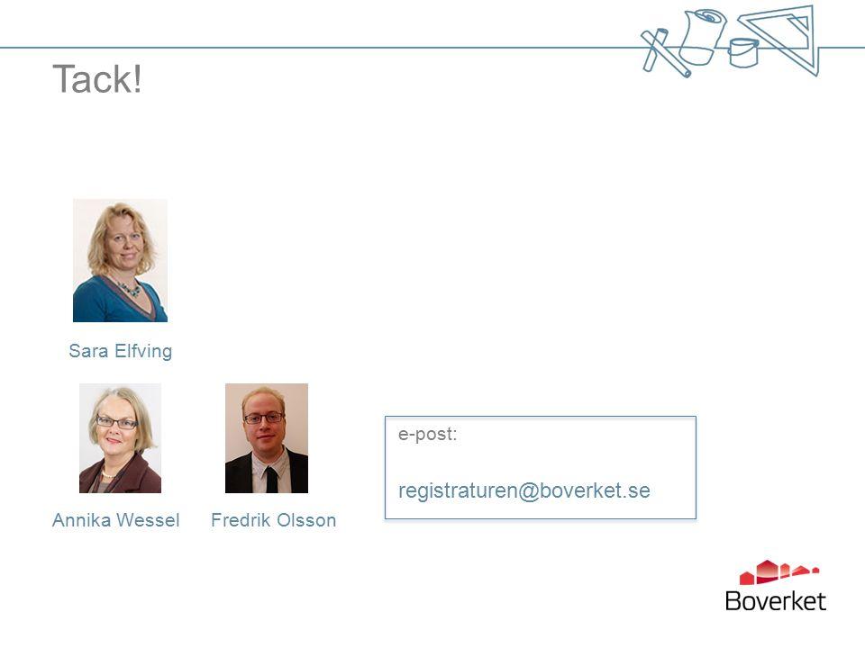 Tack! Sara Elfving e-post: registraturen@boverket.se Annika Wessel Fredrik Olsson