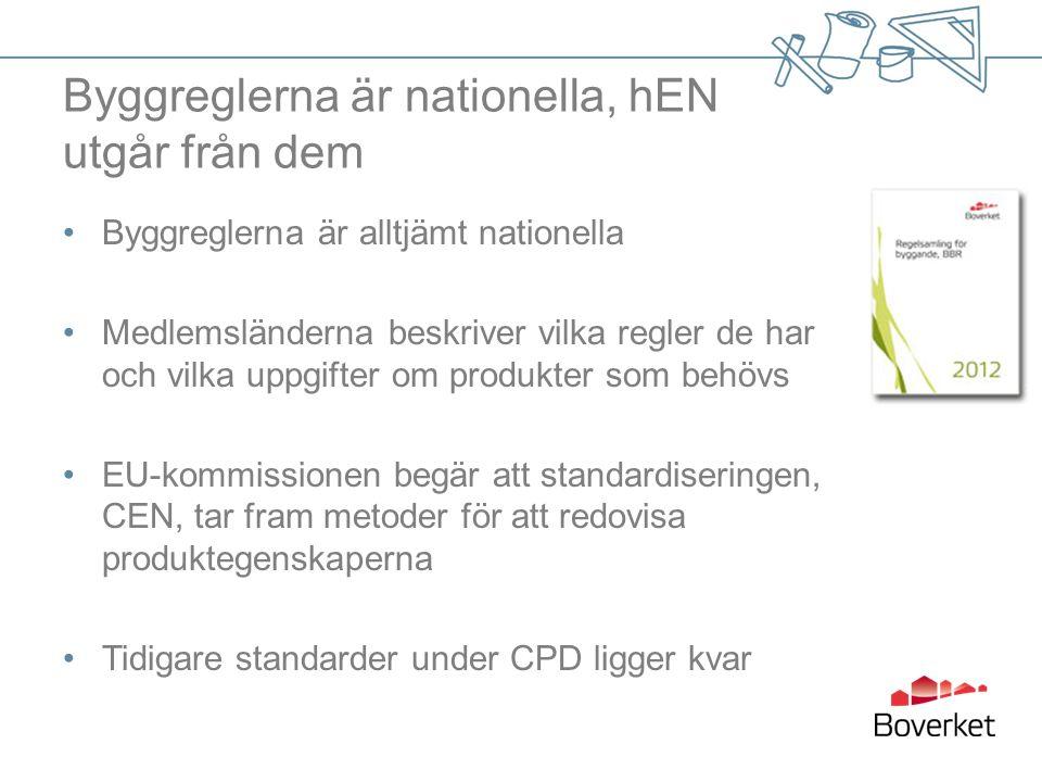CE-märkning av byggprodukter krav 1 juli 2013 – nytt för Sverige -Information i själva CE-märkningen som tidigare, MEN med tillägg av: -Produkttypens identifieringskod -Prestandadeklarationens nummer och värde/klass för angivna prestanda -Prestandadeklaration -Kemikalieinformation