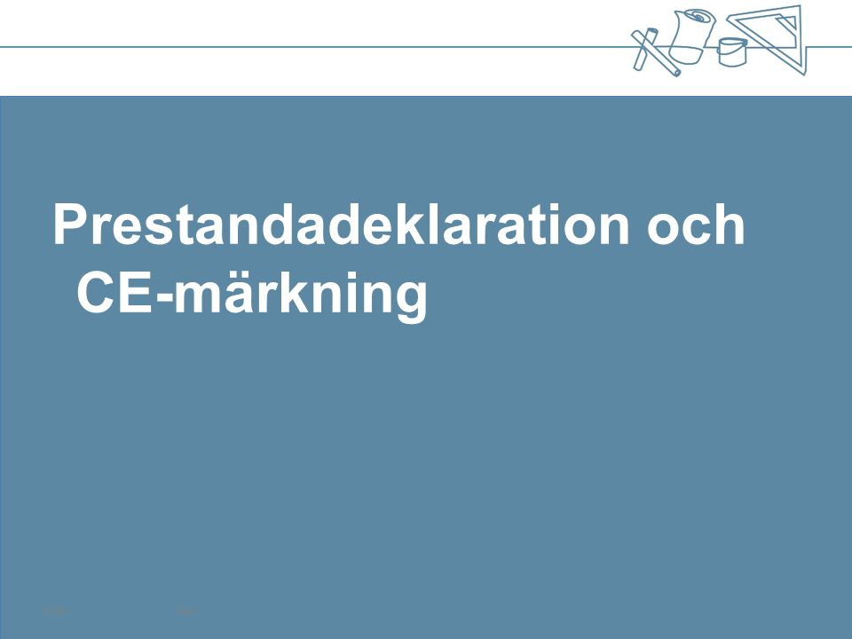 SS-EN 14351-1:2006+A1:2010 Fönster och dörrar – Produktstandard, funktionsegenskaper Del 1: Fönster och ytterdörrar utan egenskaper för brandmotstånd och/eller rökgasläckage Fönster Essential characteristicsDeklareras och varför WatertightnessJa, BBR 6:5 Dangerous substancesNej Resistance to wind loadNja, EKS 8 (BFS 2011:10) Load-bearing capacity of safety devices Ja, AFS 2009:2, 45§ Acoustic performanceNja, BBR 7:2 Thermal transmittanceJa, BBR 9:4, 9:92 Radiation propertiesNja, BBR 6:322 Air permeabilityJa, BBR 9:21
