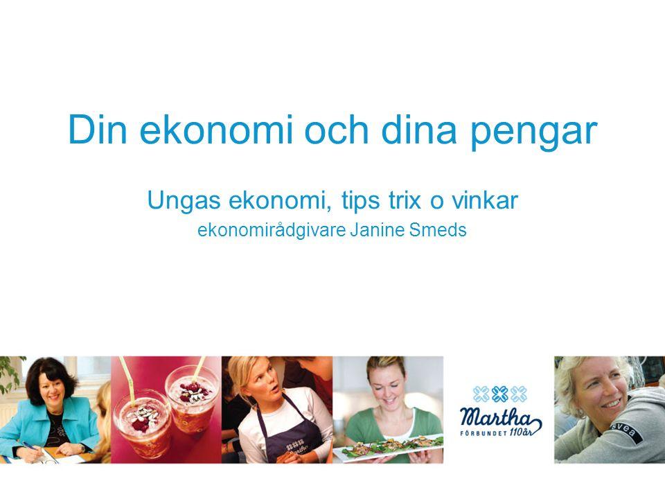 Din ekonomi och dina pengar Ungas ekonomi, tips trix o vinkar ekonomirådgivare Janine Smeds
