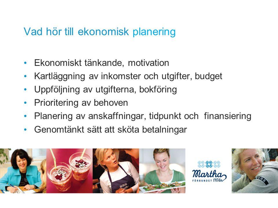 Vad hör till ekonomisk planering Ekonomiskt tänkande, motivation Kartläggning av inkomster och utgifter, budget Uppföljning av utgifterna, bokföring Prioritering av behoven Planering av anskaffningar, tidpunkt och finansiering Genomtänkt sätt att sköta betalningar
