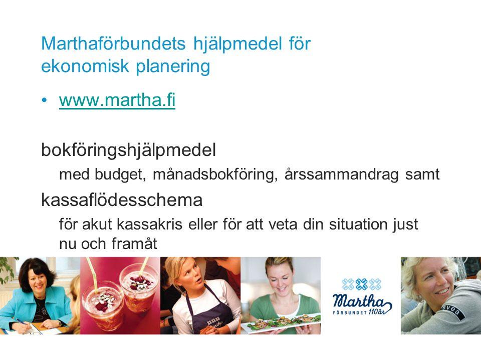 Marthaförbundets hjälpmedel för ekonomisk planering www.martha.fi bokföringshjälpmedel med budget, månadsbokföring, årssammandrag samt kassaflödesschema för akut kassakris eller för att veta din situation just nu och framåt