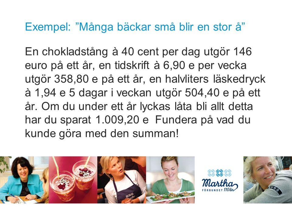 Exempel: Många bäckar små blir en stor å En chokladstång à 40 cent per dag utgör 146 euro på ett år, en tidskrift à 6,90 e per vecka utgör 358,80 e på ett år, en halvliters läskedryck à 1,94 e 5 dagar i veckan utgör 504,40 e på ett år.