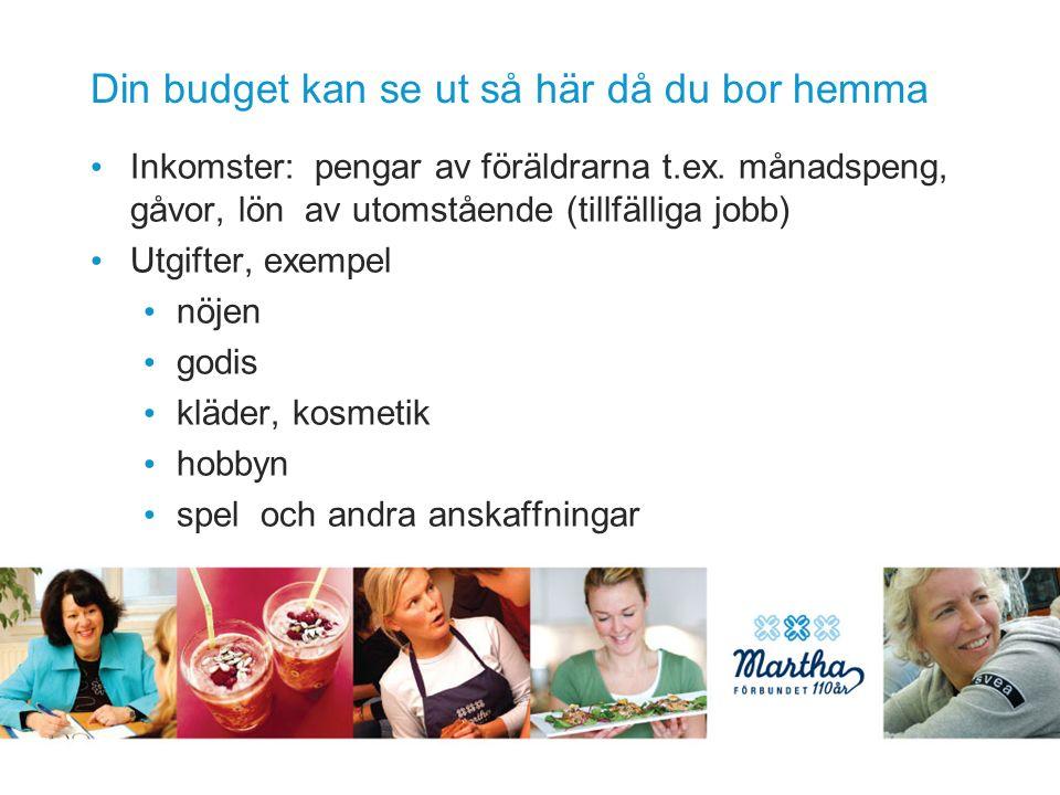 Din budget kan se ut så här då du bor hemma Inkomster: pengar av föräldrarna t.ex.