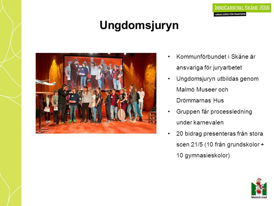 Ungdomsjuryn Kommunförbundet i Skåne är ansvariga för juryarbetet Ungdomsjuryn utbildas genom Malmö Museer och Drömmarnas Hus Gruppen får processledning under karnevalen 20 bidrag presenteras från stora scen 21/5 (10 från grundskolor + 10 gymnasieskolor)