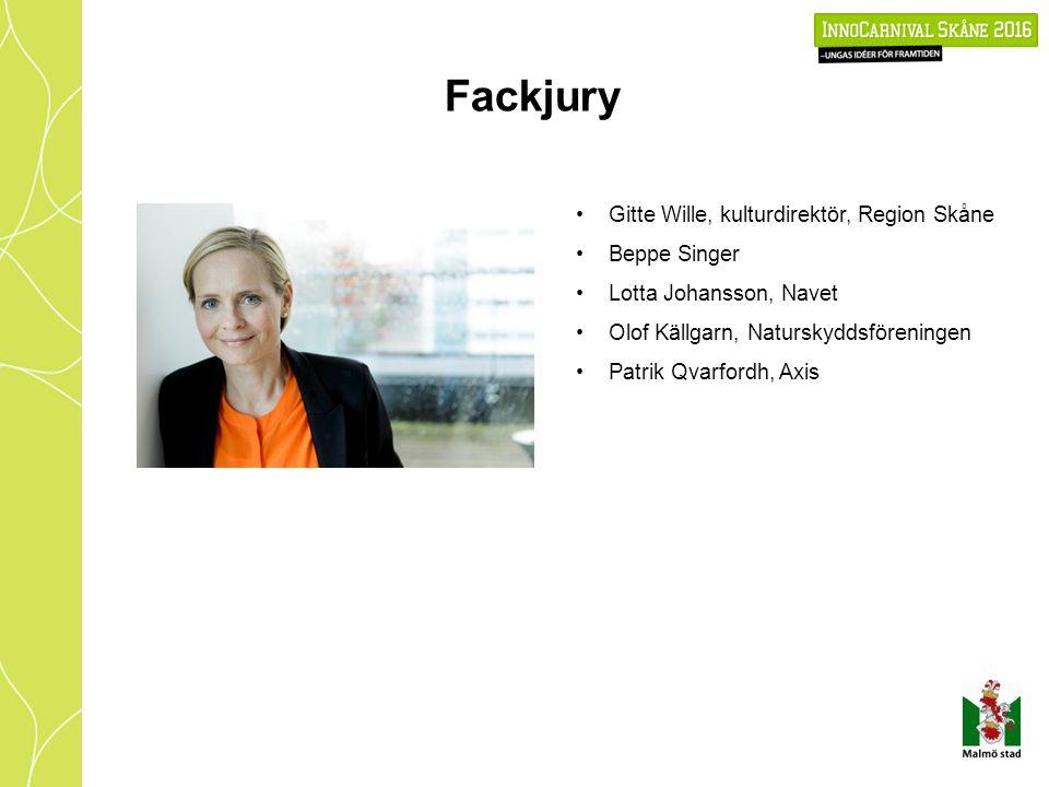 Fackjury Gitte Wille, kulturdirektör, Region Skåne Beppe Singer Lotta Johansson, Navet Olof Källgarn, Naturskyddsföreningen Patrik Qvarfordh, Axis