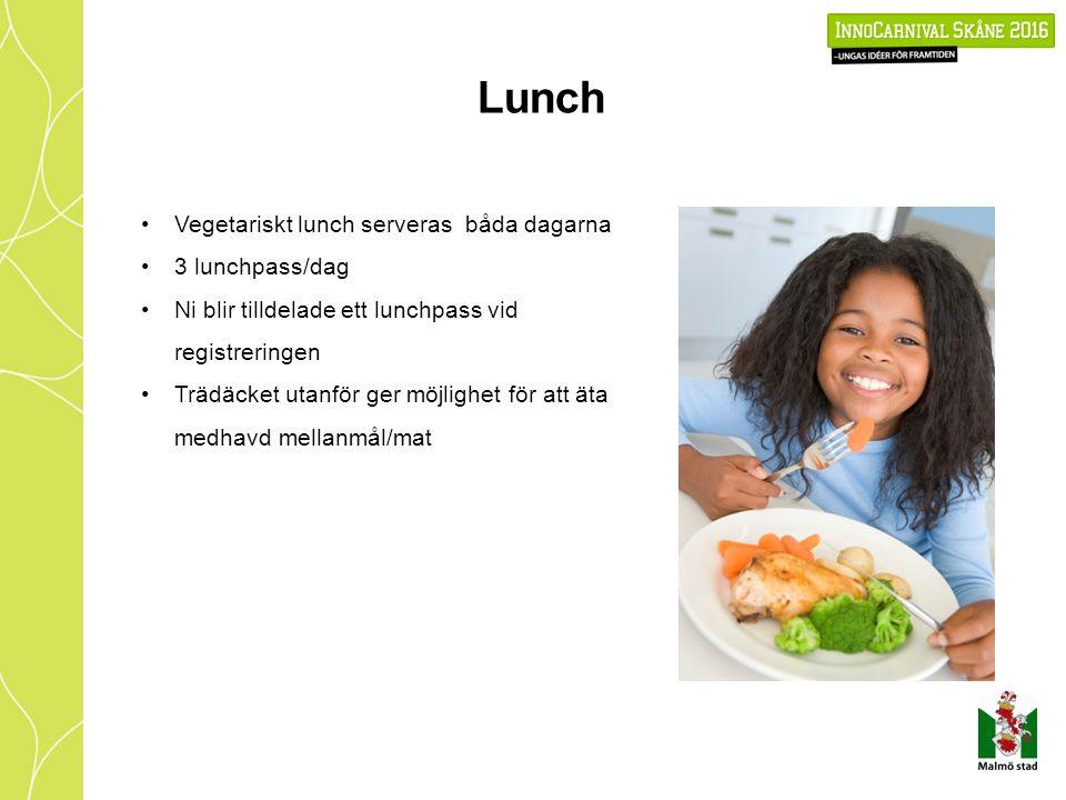 Lunch Vegetariskt lunch serveras båda dagarna 3 lunchpass/dag Ni blir tilldelade ett lunchpass vid registreringen Trädäcket utanför ger möjlighet för att äta medhavd mellanmål/mat