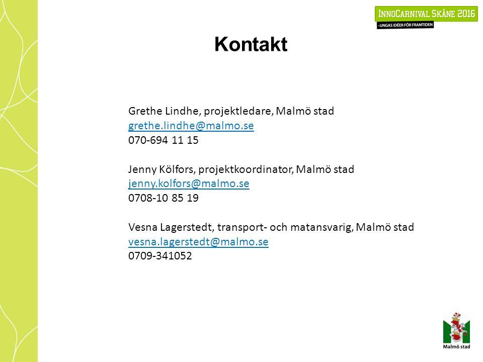 Kontakt Grethe Lindhe, projektledare, Malmö stad grethe.lindhe@malmo.se 070-694 11 15 Jenny Kölfors, projektkoordinator, Malmö stad jenny.kolfors@malmo.se 0708-10 85 19 Vesna Lagerstedt, transport- och matansvarig, Malmö stad vesna.lagerstedt@malmo.se 0709-341052