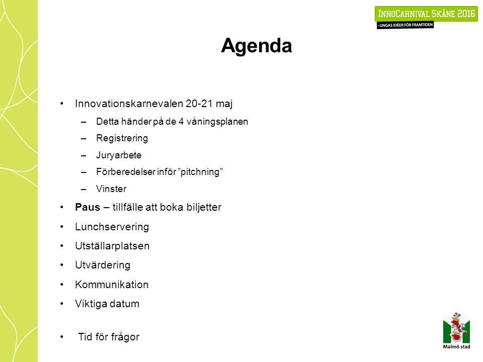 Agenda Innovationskarnevalen 20-21 maj –Detta händer på de 4 våningsplanen –Registrering –Juryarbete –Förberedelser inför pitchning –Vinster Paus – tillfälle att boka biljetter Lunchservering Utställarplatsen Utvärdering Kommunikation Viktiga datum Tid för frågor