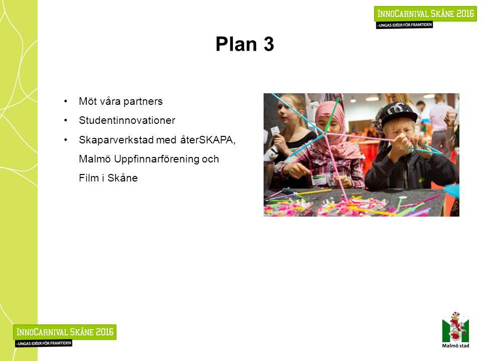 Plan 3 Möt våra partners Studentinnovationer Skaparverkstad med återSKAPA, Malmö Uppfinnarförening och Film i Skåne