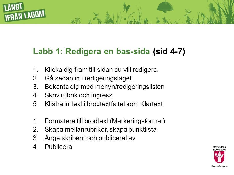 Labb 1: Redigera en bas-sida (sid 4-7) 1.Klicka dig fram till sidan du vill redigera.