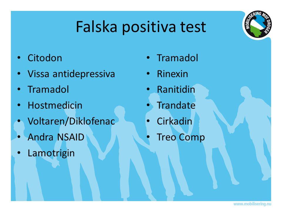 Falska positiva test Citodon Vissa antidepressiva Tramadol Hostmedicin Voltaren/Diklofenac Andra NSAID Lamotrigin Tramadol Rinexin Ranitidin Trandate Cirkadin Treo Comp