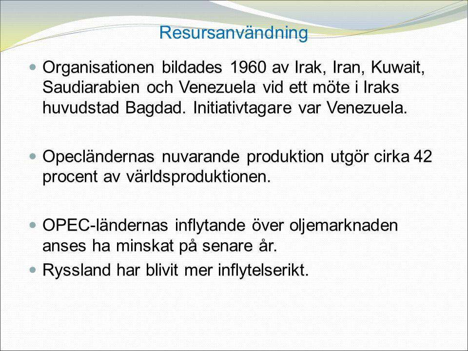 Resursanvändning Organisationen bildades 1960 av Irak, Iran, Kuwait, Saudiarabien och Venezuela vid ett möte i Iraks huvudstad Bagdad.