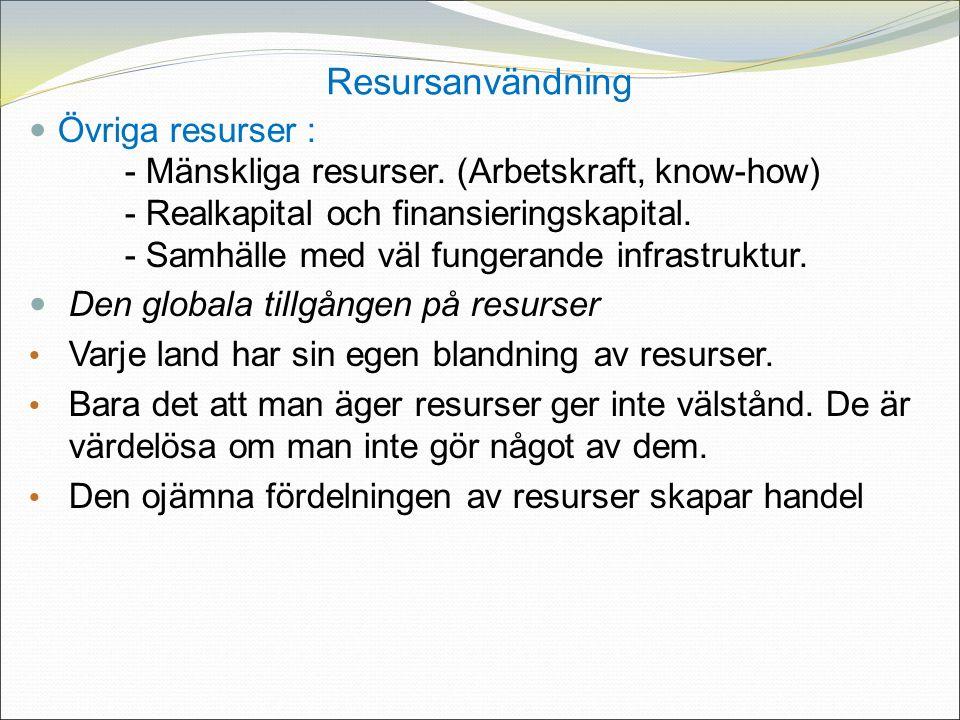 Resursanvändning Övriga resurser : - Mänskliga resurser.