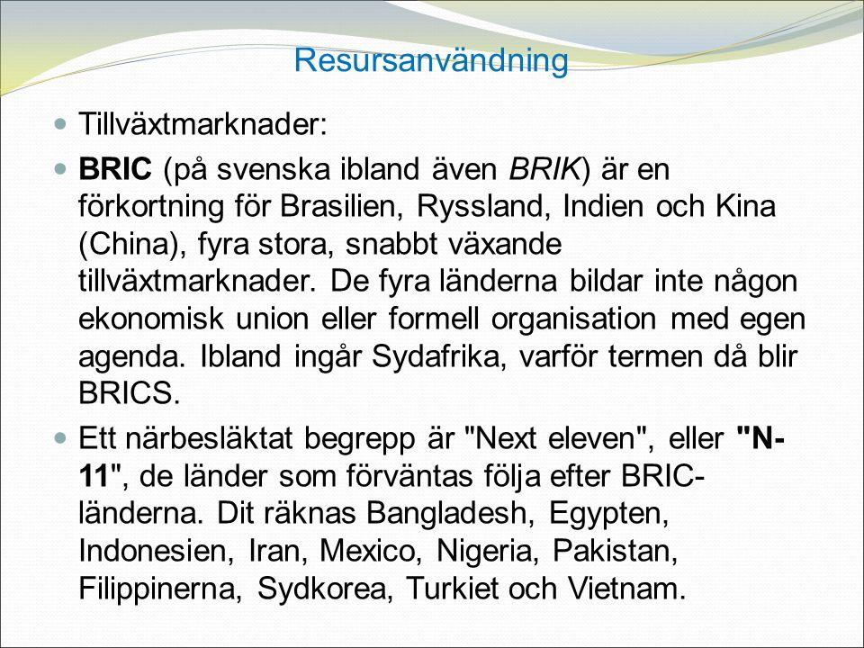 Resursanvändning Tillväxtmarknader: BRIC (på svenska ibland även BRIK) är en förkortning för Brasilien, Ryssland, Indien och Kina (China), fyra stora, snabbt växande tillväxtmarknader.