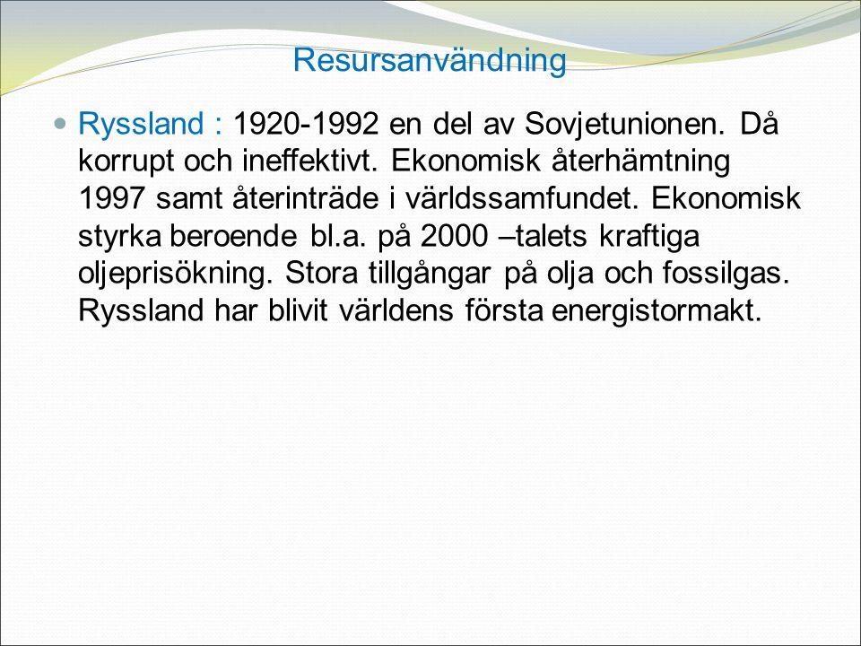 Resursanvändning Ryssland : 1920-1992 en del av Sovjetunionen.