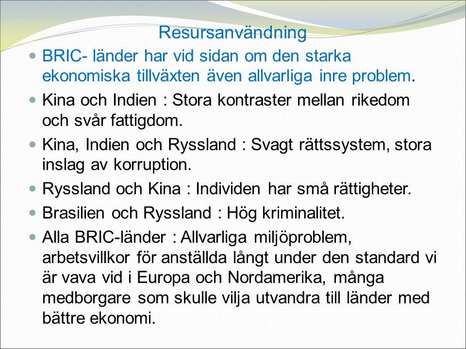 Resursanvändning BRIC- länder har vid sidan om den starka ekonomiska tillväxten även allvarliga inre problem.